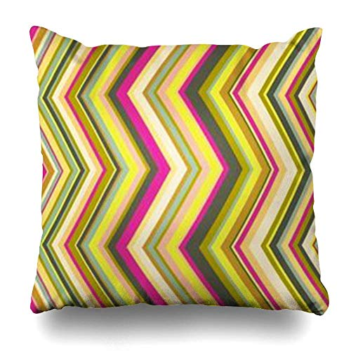 Klotr Kissenbezugs Stripe Pattern Whole Standard Marked Crooked Lines Band Up Wide Abstract Color Colored Pillowcase Square Size 18 x 18 Inches Home Decor Cushion Cases -