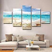 La Vie Imagen en Lienzo Grande 5 Partes Paisaje de Playa Pintura al óleo Impresión Sobre
