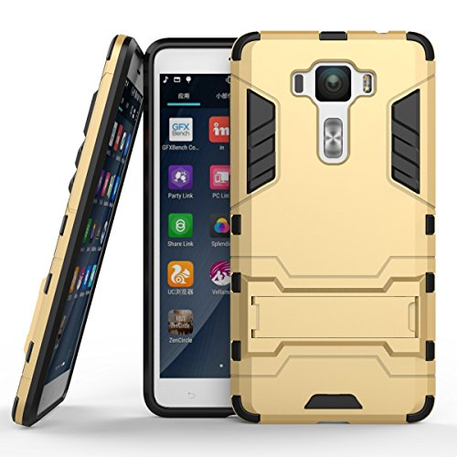 Ycloud Tasche für ASUS ZenFone 3 Deluxe ZS550KL (5.5 Zoll) Hülle, stärkste Telefon Shock Proof Armor Dual Schutzabdeckung Hochfeste PC Kunststoffoberschale Shockproof mit Halterung Gold
