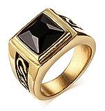Vnox Antike Herren Edelstahl schwarz Achat Ring,Gold