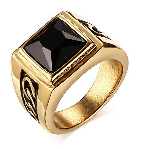 Vnox Antike Herren Edelstahl schwarz Achat Ring,Gold - Herren Gold Versprechen Ring