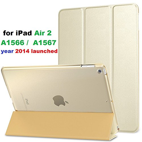 for iPad A1566 , A1567 Air 2 Flip Cover Case. Ultra Slim Lightweight PU Leather Magnetic Smart Folio Flip with (Translucent Back) Stand Flip Cover case For _2014 Launched _ Apple iPad Air 2 Model No. iPad A1566 / A1567 iPad case cover (Gold)