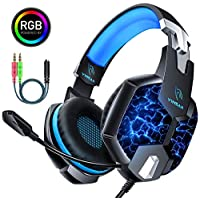 YINSAN Casque PS4 Gaming, Casque Gamer Xbox One avec Micro Anti Bruit Casque Gaming RGB LED Lampe Stéréo Basse Microphone Réglable avec Micro 3.5mm Jack pour PC Laptop Tablette Smartphone Blue
