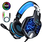 Cuffie Gaming per PS4, YINSAN Cuffie da Gioco Over Ear con Microfono, 7 Luci RGB LED, Audio Cavo 3.5mm e Controllo del Volume, Gaming Headset per Xbox One, Nintendo Switch, PC, Mac, Laptop, Smartphone