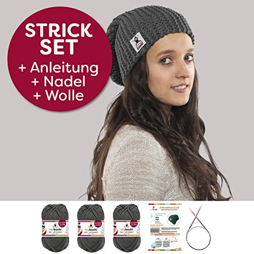 Myboshi DIY Strickmütze Elgin Herren / Damen, Strickset: Strickanleitung + Rundstricknadel + 3x Strickwolle + selfmade Label, Farben: 3x (anthrazit, mit Stricknadel) (Beanie Starter)