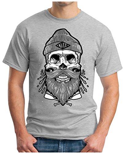 OM3 - SAILOR-SKULL-HIPSTER - T-Shirt KULT BONES FACE BEARD ANCHOR ANKER DOPE KUSH GEEK Grau Meliert