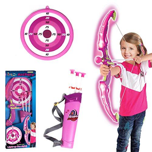 Pfeil und Bogen Kinder Set, Anna Shop Pfeil und Bogen Kinder Set mit LED Schießen Spielzeug ab 3 (Rosa)