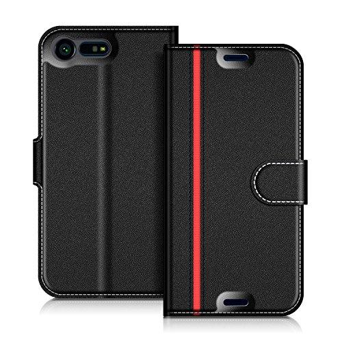 COODIO Handyhülle für Sony Xperia X Compact Handy Hülle, Sony Xperia X Compact Hülle Leder Handytasche für Sony Xperia X Compact Klapphülle Tasche, Schwarz/Rot