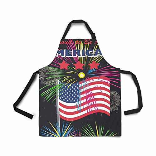InterestPrint Independence Day Amerika-Flagge, verstellbare Latzschürze für Damen, Herren, Mädchen, Koch mit Taschen, Küchenschürze zum Kochen, Backen, Gartenarbeit, Haustierpflege, (80 Die Hausfrau Kostüm)