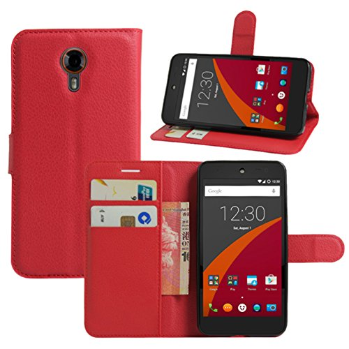 HualuBro Wileyfox Swift Hülle, Leder Brieftasche Etui LederHülle Tasche Schutzhülle HandyHülle [Standfunktion] Handytasche Leather Wallet Flip Case Cover für Wileyfox Swift (Rot)