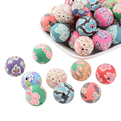 nbeads 100 Stück handgemachte Polymer Clay Fimo Perlen 18mm für Schmuckherstellung, gemischte Farbe, Loch: 2mm - Polymer Farbe Clay