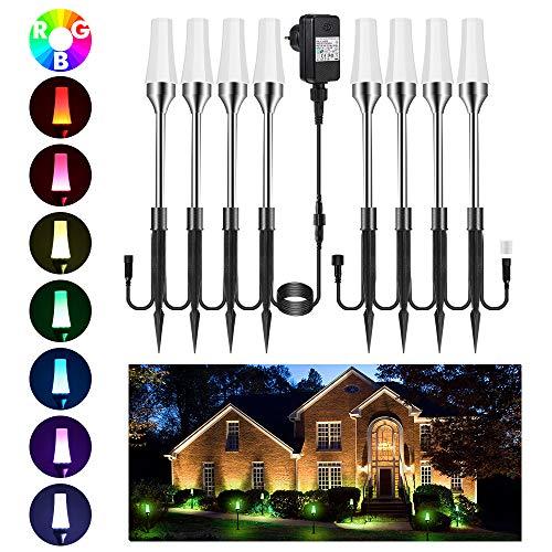 Gartenleuchte RGB 8er Greenclick Gartenbeleuchtung mit Erdspieß LED Rasenlicht, Wasserdicht IP65 Wegbeleuchtung, Gartenstrahle mit Kabel 7.6M/60LM, erweiterbar für Outdoor Hof Rasen Straßenrand -
