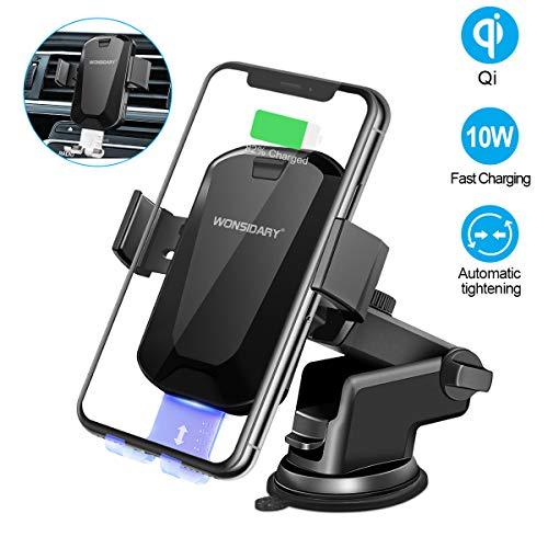 Wonsidary Wireless Charger Auto, Automatisch Handyhalterung 10W Kfz Induktive Ladestation 2 in 1 mit Lüftung & Saugnapfshalter für iPhone XS/XS Max/XR/X/8/8P, Samsung Galaxy, alle Qi-fähigen Telefone Wireless Halterung