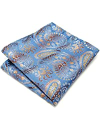 Shlax&Wing Azure Pocket Square Mens Hankies Paisley Azul Silk Wedding Pañuelos
