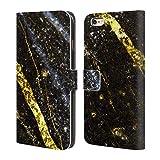 Head Case Designs Offizielle PLdesign Glitzernde Gold Linien Felsen Gewebe Und Funkel Brieftasche Handyhülle aus Leder für iPhone 6 Plus/iPhone 6s Plus