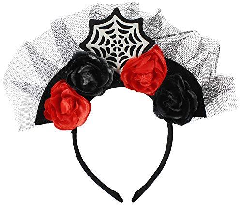 com-four® Haarreif Tiara Catrine, Blumen am Haarreif in schwarz& rot, Kostüm Zubehör (01 Stück - Spinnennetz)