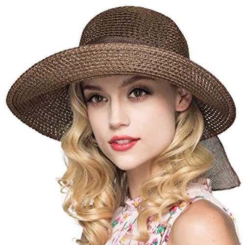amen Strohhut Faltbare Kappe Floppy breiter Krempe Sommer Strand Hüte für Frauen Mädchen (Kaffee) ()