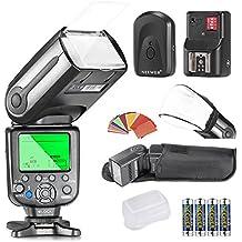 Neewer® NW-565 EXN i-TTL Slave Speedlite Flashlight Kit para Nikon D4, D3s, D3x, D3, D700, D300s, D300, D200,D100, D90, D80, D70s, D5200, D3200, D7000, D5100, D5000, D3100, D3000, D60, D40X, D800, D600, D7100 y otros modelos de Nikon, incluye (1) NW-565 iTTL Flash para Nikon + (1) universal Mini flash de rebote Difusor Cap + (1) 35 piezas Filtros de gel de color + (1) 16 Canales remoto inalámbrico disparador de flash + (4) batería LR