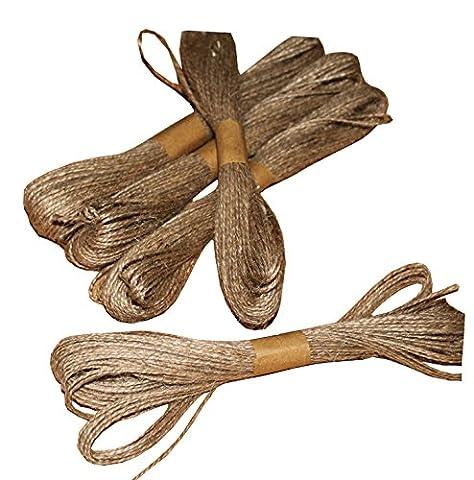 ACMEDE - 5 x 20m Corde Ficelle En Jute Naturel Rustique Pour Décoration Noël Artisanat Bricolage Jardinage Étiquette Cadeau Emballage