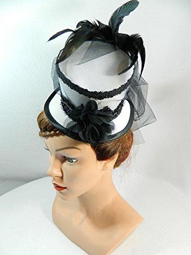 Midi Zylinder schwarz weiß Brauthut Fascinator Hut (Schwarze Witwe Beerdigung Kostüm)