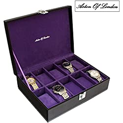 Gents Black PU Leather 10 Watch Storage Case with Purple Interior by Aston Of London®