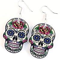 TFB–Funky Grande Bianco Morte Maschera Deep Rose messicano zucchero teschio orecchini gotico Retro Regalo