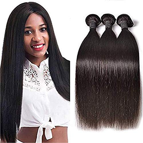 AJIAFA Haarvorhang 9A Brazilian Hair 1 Bundles Straight Human Hair Bundles Virgin Straight Hair Bundles Brasilianische Haare 100% Menschliche Haare,Black,26inches