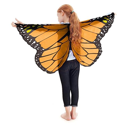 faschingskostueme schmetterling Faschingskostüme Schmetterling Schal Mädchen Karneval Kostüm Schmetterlingsflügel feenhafte Nymphe Pixie Halloween Cosplay Kinder Schmetterlingsf Cosplay Butterfly Wings Flügel Schal LMMVP (Orange)