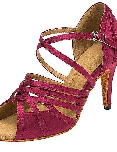 La mode moderne Sandales femmes personnalisables Chaussures de danse Latine Salsa/Satin/talons sandales talon intérieur personnalisé professionnel/Bleu/Violet Blue