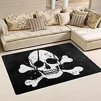 COOSUN Black Pirate Flag Area Rug Carpet Non-Slip Floor Mat Doormats for Living Room Bedroom 78.7 x 50.8 cm ( 31 x 20 inch )