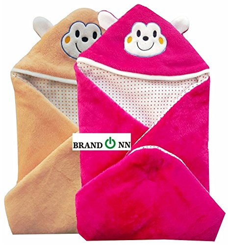 Brandonn Combo Of 2 New Born Baby All Season Use 3 In 1 Baby Wrapper Or Blanket Cum Sleeping Bag Cum Beeding(0-4Months)(Beige & Hotpink)