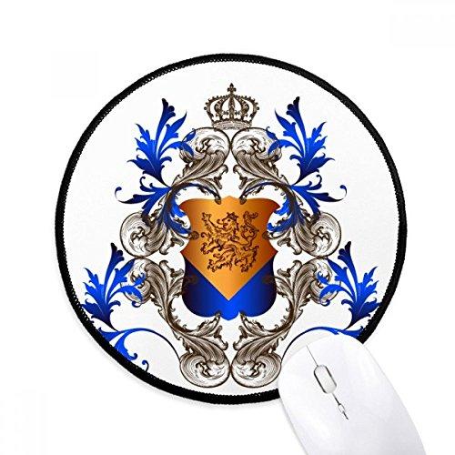 Mittelalter Ritter Europas Krone Emblem Shield rund rutschfeste Mousepads schwarz titched Kanten Spiel Büro Geschenk