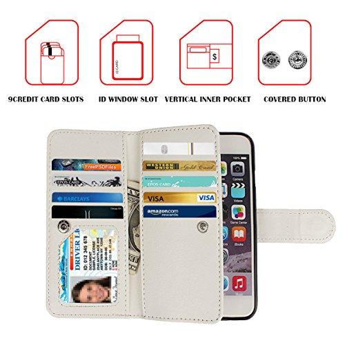 xhorizon TM FX Leder Folio case [Brieftasche] [Magnetisch abnehmbar] Uhrarmband Geldbeutel Flip Mehrfache Kartenschlitz Hülle Tasche für 4.7 Zoll iPhone 6 6S (Aquarell mit 9H Ausgeglichenes Glas-Film) Rosa