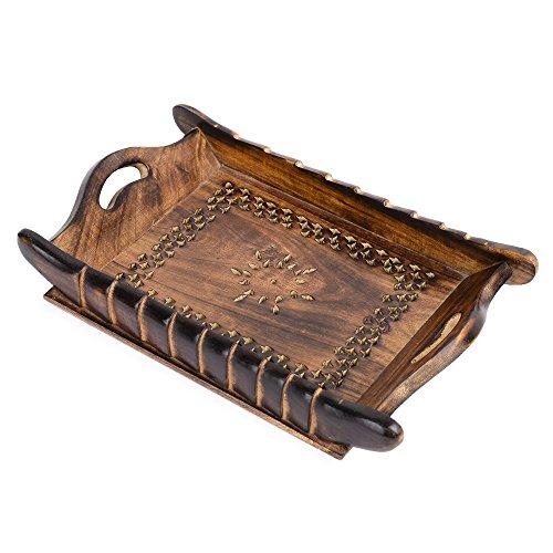 rusticiy Holz Serviertablett–Antik Geflecht | handgefertigt | medium| (30,5x 19,6cm)