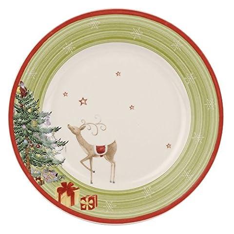 Christmas Jubilee 20 cm Green Band Salad Plate, Set of 4, Multi-Colour