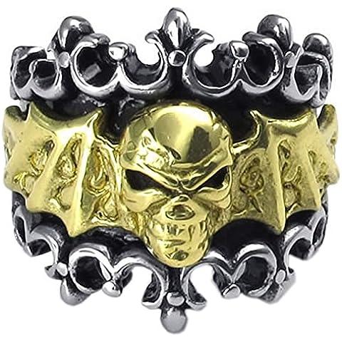 KONOV Gioielli Anello da Uomo, Anelli, Biker, Cranio Teschio Pipistrello Bat, Acciaio Inossidabile, Oro Nero (Argento Bat Anello)
