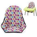 Fundas de asiento y cojín para silla de comedor de bebé, protector de pantalla, transpirable, impermeable, almohadilla para silla alta (lunares coloridos)