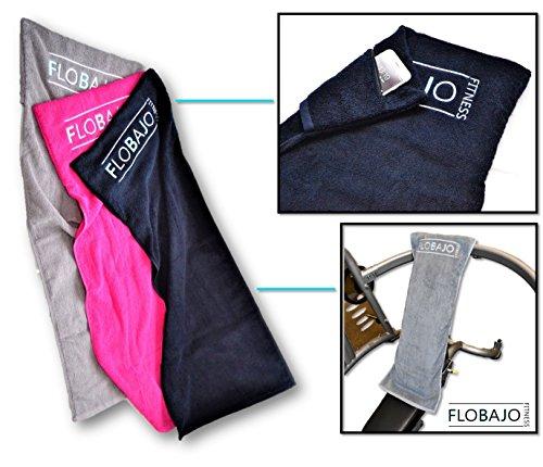 FloBaJo-Fit - GymTow V2 Sporthandtuch, Fitness-Handtuch mit Doppeltasche und umgenähtem Kopfteil (Sleeve), 100% Baumwolle, 100 cm Länge, Antirutschfunktion, ideal für das Fitnessstudio (black/schwarz)
