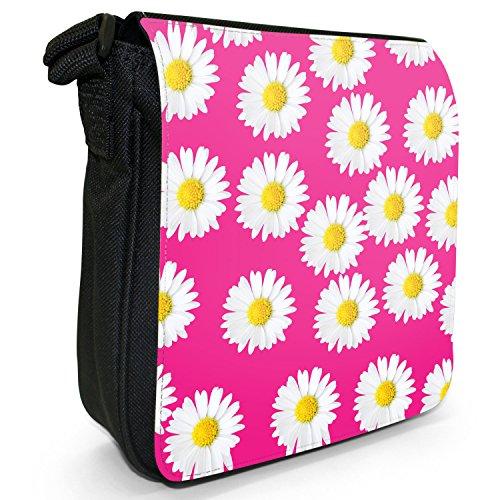 Dainty margherite-Borsa a tracolla in tela, piccola, colore: nero, taglia: S Pink Dainty Daisies