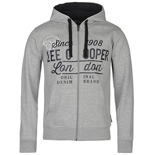 Lee Cooper logo con cappuccio e cerniera grigio felpa con cappuccio uomo, Grey, S