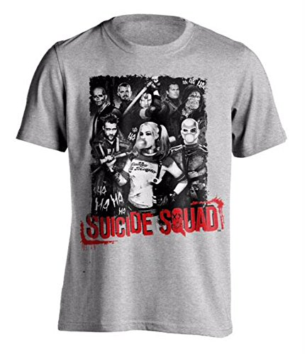 DC Comics Suicide Squad Ha Ha Ha Poster Harley Quinn Deadshot Grey Mens T-Shirt