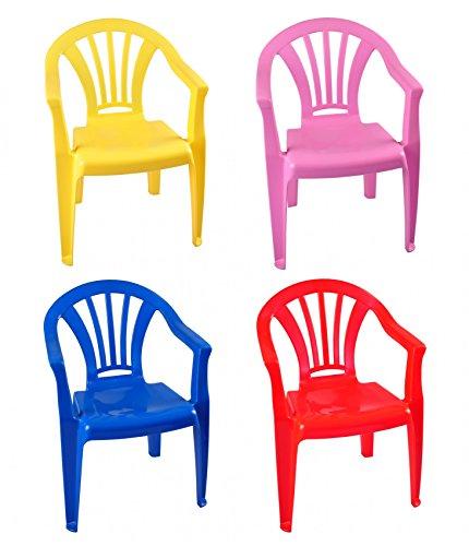 Buri Kinderstühle Stapelstühle Kinderstuhl Kindersessel Stuhl Kindermöbel Gartenstuhl, Farbe:rot