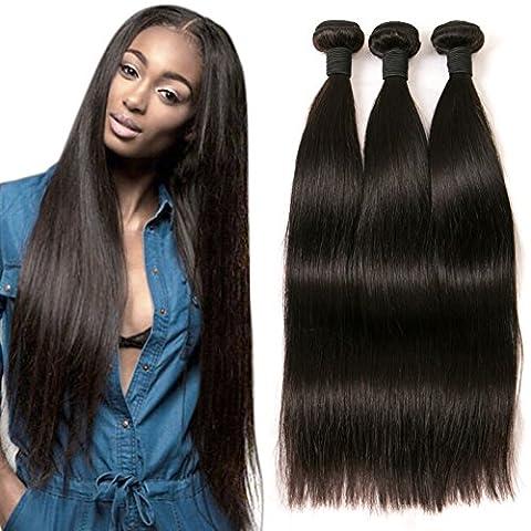 DAIMER Brazilian Straight Weave 18 20 22 Inch 3 Bundles 100 % Human Hair Weft Natural 1b Tangle Free Can Be Dye