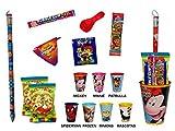Lot de 10verres à bonbons et crayons jumbo (licence). Cadeaux et jouets. Bonbons pour les fêtes d'anniversaire, mariage, baptême et comuniones. Spiderman