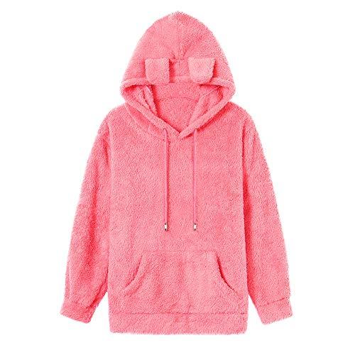 TianWlio Damen Hoodie Frauen Langarmshirt Pullover Weihnachtspullover Lässige Langarm Pullover Sweatshirt Bluse Mode Farbe Block Tasche Hoodie