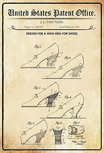 generisch Targa in Metallo 20 x 30 cm, Design Brevettato per Scarpe con Tacco Alto 1919