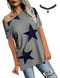 e1f548faff135b BUOYDM Donna Camicetta Estivo Camicia Casuale T-Shirt Basic in Cotone Senza  Spalline Stampate Stella