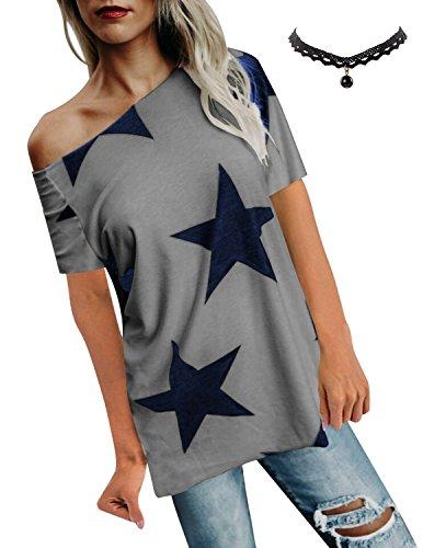 BUOYDM Damen T Shirt One-Shoulder Kurzarm Sternchen Casual Sommer T-Shirt Oberteil ()
