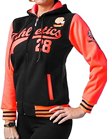 24brands - Damen Frauen College Kapuzenpullover Sport Jacke Pullover Pulli Baseball Jacke - 2488, Größe:S;Farbe:Schwarz 2