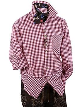 Top-Quality Trachtenhemd Herren - Rot-Karo/kariert - Langarm/Kurzarm - Komfort Baumwolle -mit Edelweiß